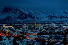 snow, town, night,