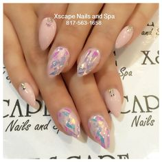 pink opal shatter glass nails