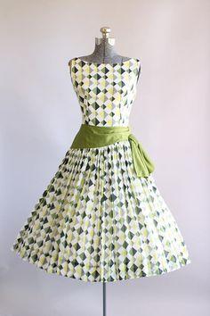 Vintage 1950s Dress / 50s Cotton Dress / Jeannette Alexander Green and Black Harlequin Print Dress S