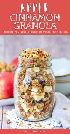 This Apple Cinnamon Granola is the perfect healthy breakfast! It's sweet and loaded with seasonal flavors, packed with crunchy walnuts and sweet apples. It's made with simple wholesome ingredients and without refined sugar. --------- #apple #applerecipes #applegranola #granola #granolarecipe #healthygranola #homemadegranola #breakfast #breakfastrecipe #breakfastidea #healthybreakfast #cinnamon