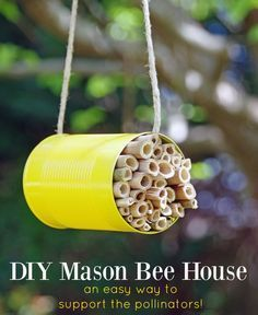 DIY Mason Bee House is a great Earth Day craft or Garden Craft for anyone who wants to attract more pollinators to their yard.