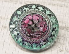 Teal Green and Purple Embellished Flower Czech Glass Button - Art Bead - 22mm - 522