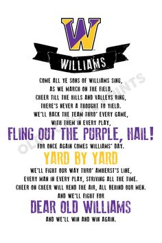 Williams College Fight Song Print