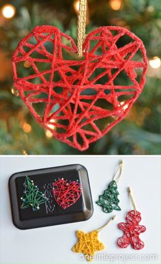 These wrapped yarn ornaments are SO PRETTY and they& so fun to make! Using yarn, glue, sewing pins and styrofoam trays you can make unique and beautiful homemade Christmas ornaments! They look beautiful on the Christmas tree and they make awesome gifts. Christmas Ornament Crafts, Christmas Projects, Holiday Crafts, Handmade Christmas Decorations, Thanksgiving Crafts, Valentine Crafts, Christmas Crafts To Sell Handmade Gifts, Homemade Xmas Decorations, Valentine Tree