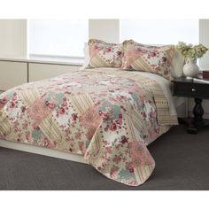 Garden Patchwork 100 Percent Cotton Bedding Quilt Set, Multicolor