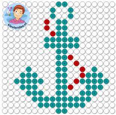 kralenplank anker, thema de haven, kleuteridee, Kindergarten anchor with beads Ship Anchor, Kindergarten Themes, Brick Stitch, Perler Beads, Pixel Art, Planks, Printables, Kids Rugs, Cubs