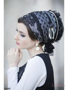 Elegant Black Lace & Tulle Sinar Tichel