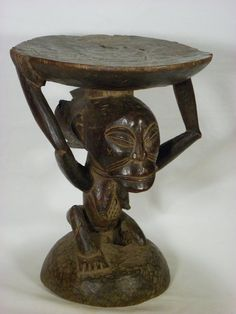 """Superb African Tribal Art Luba Caryatid Stool    Dimension: 16"""": x 12"""" x 12""""  Early to Mid 20th Century  If you want more pictures just let me know.....  Conditions: wood deterioration, age cracks, chips and scrapes, overall condition good.    This kind of stool was called Kihona and was the embodiment of royal authority. The female supporting the stool is related to the mother of the tribe, to the matriarchy and fertility. According to Van Rijn Documentation Center (see related piece…"""