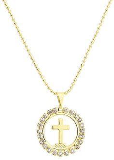 Gargantilha de bolinhas folheada a ouro e medalha com cruscifixo e strass