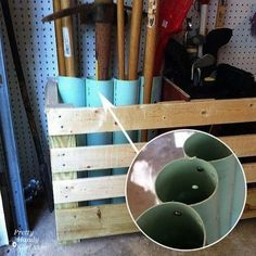 Upright Tool Storage with PVC Pipes. Connect large pieces of PVC pipe with screws and use it to store all of those bulky yard tools.