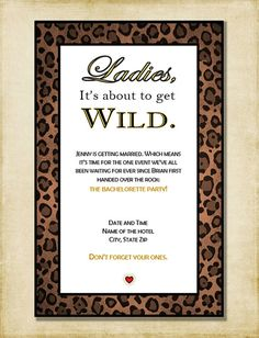 Bachelorette Party Invitation Leopard by AshleyMartinDesigns, Ideas Vegas Bachelorette, Bachlorette Party, Bachelorette Party Invitations, Diy Invitations, Jungle Party, Safari Party, Cheetah Print Wedding, Leopard Party, Pamper Party