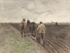 Anton Mauve (1838 — 1888, Dutch) Ploughing of farmer.  watercolor and gouache heightened with white on paper. 45.8 × 60 cm.