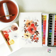 By calligrafikas: Going back to florals for a breather #calligrafikas #grafikas #dreweuropeo #illustration #watercolor #grafikaflora #botanicalwatercolor Paper: Canson 200gsm Paint: Sennelier w/c Brush: Princeton Neptune round no 10