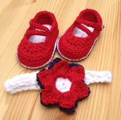 4th of July/Patriotic Booties, Crochet Baby Sandals, Headband and Booties, Crochet Baby Shoes, Crochet Headband, Red Headband, Red Shoes