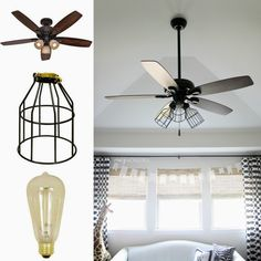 Diy dual ceiling fan made from black iron pipe and lowes allen diy cage light ceiling fan aloadofball Gallery