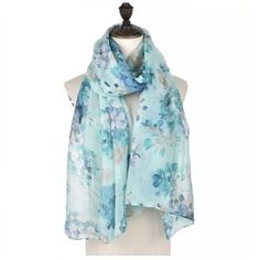 Vintage Flower Floral Long Scarf Pashmina Wrap Sarong Turquoise Denim Blue SS17  #Intrigue #Scarf