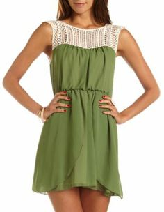 #crochet neck a-line #dress, cute with a belt Get a discount: http://www.studentrate.com/itp/get-itp-student-deals/Charlotte-Russe-10percent-Student-Discount--/0
