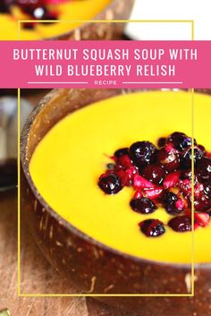 Easy Fall Soup Recipe for Busy Moms:  Butternut Squash Soup with Wild Blueberry Relish  There's nothing more comforting than cozying up with a big bowl of freshly made soup, and @danielleomar's butternut squash soup with Wild Blueberry relish is the perfect way to bring everyone around the dinner table for a healthy meal.  Get the recipe! #wildblueberries