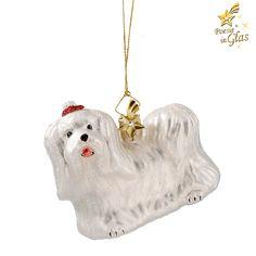 Malteser - Exklusiver Baumschmuck aus Glas von Käthe Wohlfahrt® Des Menschen bester Freund Poesie in Glas® - kristallbesetzter Messingkomet am Aufhänger schöne Geschenkidee für alle Hundefreunde mit G