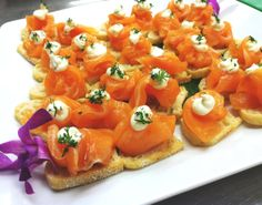 Passed Hors d'Oeuvres - Garlic and Lemon Cured Lomi Lomi Salmon on a Cream Cheese Crostini