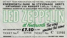 Led Zeppelin Knebworth Concert Ticket