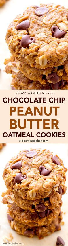 Peanut Butter Chocolate Chip Oatmeal Cookies (V+GF): An easy recipe for soft, deliciously textured cookies with oats, coconut, and LOTS of peanut butter and chocolate. #Vegan #GlutenFree   BeamingBaker.com