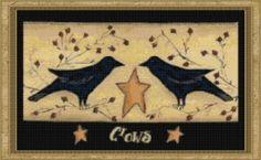 free primitive clip art | Cottage Crafts: Freebie - Black Primitive Crows Cross Stitch Pattern