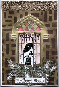 fond stencil découpe fenettre marianne design tampon flonz tampons détourés katzelkraft, tim holtz et la compagnie des elfes