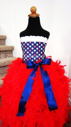 Feather Dress - Red White and Blue Patriotic Feather Dress- Feather Tutu Dress - Patriotic Dress Feather Tutu, Rhinestone Fabric, Toddlers And Tiaras, Patriotic Dresses, Red White Blue, Dress Red, Hot Pink, Kid Costumes, Costume Ideas