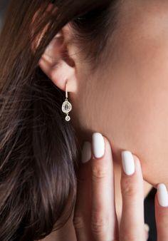 14kt yellow gold raw sliced diamond earring drip earring – Luna Skye by Samantha Conn