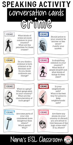Conversation starters about crime Learning English Is Fun, Learn English Speaking, Learn English Grammar, Learn English Words, English Fun, English Lessons, Teaching English, English Grammar Worksheets, English Vocabulary