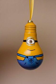 Minion Bulb Ornament by DonnasCraftsAndMore on Etsy