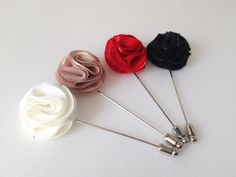 Pom pom Men's Flower Boutonniere / Buttonhole For Wedding,Lapel Pin,Tie Pin Gorgeous and Beautiful Men's flower Boutonniere/Buttonhole for. Grandma Dress, Hijab Pins, Lapel Flower, Stick Pins, Stylish Jewelry, Textiles, Handmade Flowers, Buttonholes, Satin Fabric