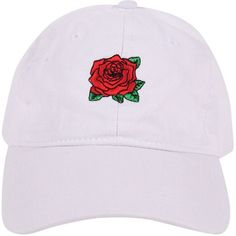 Armitage Avenue Rose Baseball Hat (890 DOP) ❤ liked on Polyvore featuring accessories, hats, beanies and hats, snapbacks/caps, white, baseball cap hats, white ball cap, embroidery hats, embroidered ball caps and white baseball cap
