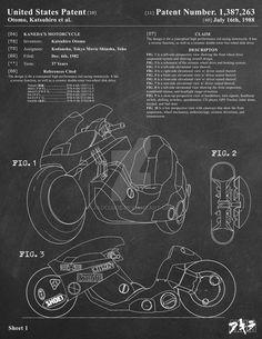 AKIRA - Kaneda's Bike Patent Poster 1 of 3 by jadeedge on DeviantArt Concept Motorcycles, Cool Motorcycles, Motorcycle Design, Bike Design, Kaneda Bike, Akira Kaneda, E Biker, Katsuhiro Otomo, Stunt Bike