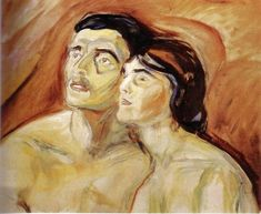Edvard Munch - Cheek to Cheek. 65 x 80 cm, Oil on canvas, Munch Museum, Oslo Emil Nolde, Edvard Munch, Amedeo Modigliani, Famous Art, Oil Painting Reproductions, Figurative Art, Oeuvre D'art, Les Oeuvres, Painting & Drawing