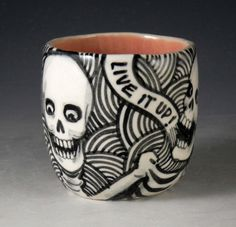 Skeleton cup Day of the Dead OOAK black and white by PSPorcelain