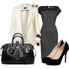 Like the idea of winter white jacket with patterned dress. Heels are too high for an interview though!