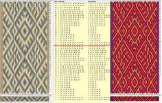 44 cards, 3 colors, repeats every 28 rows, GTT༺❁ Inkle Weaving, Inkle Loom, Card Weaving, Tablet Weaving Patterns, Finger Weaving, Types Of Weaving, Bobbin Lace, Fiber Art, Vikings