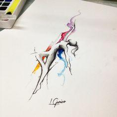 Será que vai pra pele? #bailarina #ballet #lcjunior #aquarela #watercolor #abstract  (em Espaço Alvorada) Ballet Tattoos, Dancer Tattoo, Tatoo Art, Cool Forearm Tattoos, Body Art Tattoos, Tattoo Sketches, Tattoo Drawings, Mini Tattoos, Small Tattoos