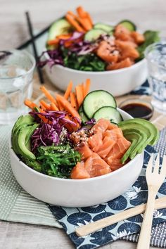 Salmon Recipes 159526011784526592 - pokebowl_salmon Source by bonjourdarling Healthy Menu, Healthy Cooking, Healthy Eating, Cooking Recipes, Healthy Recipes, Healthy Dinners, Vegetarian Sandwich Recipes, Food Inspiration, Quinoa