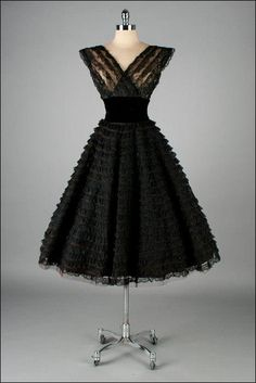 Vintage 1950's black tiered lace party dress