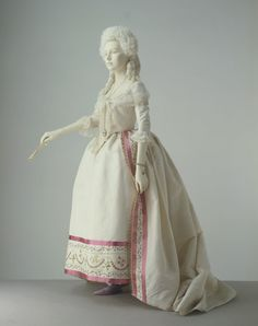Robe and petticoat of silk, trimmed with embroidered cotton, probably made in France, 1780-1785