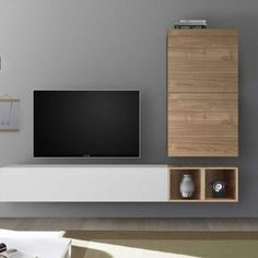 Meuble tv mural bois clair et blanc laqué Rimini Tv Cabinet Design Modern, Tv Wall Design, Tv Unit Design, Modern Design, Design Design, Living Room Modern, Living Room Designs, Living Rooms, Tv Wanddekor