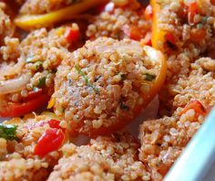 rabbit food rocks: Quinoa-Stuffed Mini Sweet Peppers (or Banana Peppers)