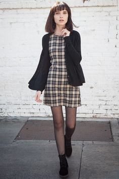 checkered mini dress, black coat, lovely checks shift dress similar to…
