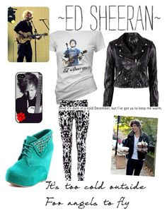 Ed Sheeran Concert w/ Harry by mythicalmeli on Polyvore featuring polyvore, mode, style, H&M, fashion, clothing, studded shoes, one direction, patterned pants, graphic tee, leather jacket and ed sheeran