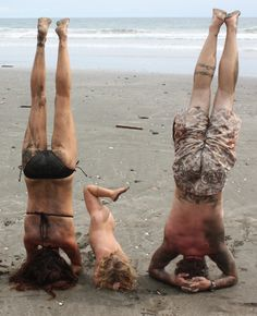 Family yoga headstand!