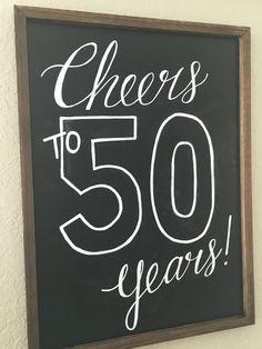 Cheers to 50 years birthday chalkboard sign
