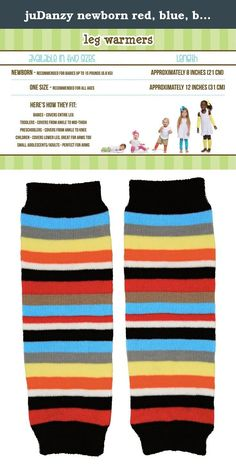 juDanzy newborn red, blue, black, white, yellow, orange, gray, stripe baby boy leg warmers - up to 15 pounds. These leg warmers feature a multicolored pattern of stripes in black, blue, gray, yellow, orange, white, and red. Your little one will be right in style when sporting this colorful selection. Composition: 80% Cotton, 18% Nylon, 2% Spandex Length: 8 inches Recommended for babies newborn to 15 pounds.